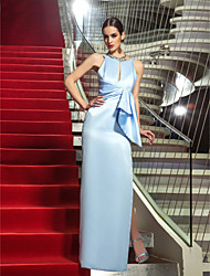 Sheath / Column Jewel Neck Floor Length Satin Formal Evening Military Ball Dress with Side Draping by TS Couture®