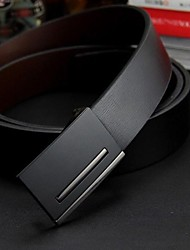 Men's Luxurious Genuine Leather Smooth Buckle Business Belt