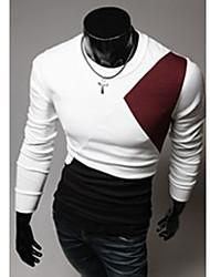 A & W Männer weiß Big Size Rundhals Langarm-T-Shirt