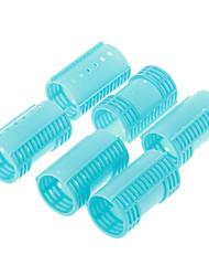 6pcs plástico Rolo de Cabelo (azul)