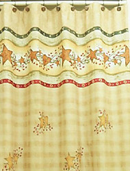 "Shower Curtain Country Style Star Print W79"" x L74"""