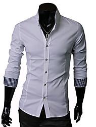 A & W blanc à manches longues Fit shirt pour hommes