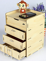 Modern 4 Drawers Beige Wooden Storage Cabinet
