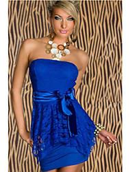 Freeshipping New Fashion Mulheres Sexy Strapless elegante vestido de festa Clubwear Mini Vestido Com Cinto de laço