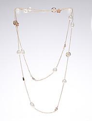 Rich Long Women's Flower Pearl Splicing Long Sweater Necklace