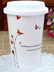 Red modello di farfalla tazza di caffè, porcellana 13 once