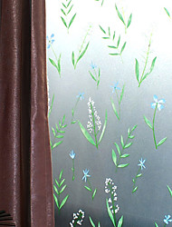 Country Fresh Style Green Lovely Flowers Window Film