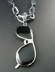 Classic (Glazen Hanger) Zwart Materiaal Hanger Collier (Zilver) (1 Pc)