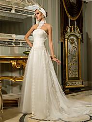 Lan Ting Sheath/Column Plus Sizes Wedding Dress - Ivory Sweep/Brush Train Halter Tulle/Lace