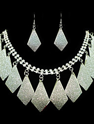 Fashion Silver Alloy With Rhinestone (Earrings&Necklaces) Gemstone Jewelry Sets