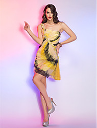 Homecoming Cocktail Party/Homecoming/Holiday Dress - Champagne Plus Sizes A-line One Shoulder Short/Mini Lace/Charmeuse