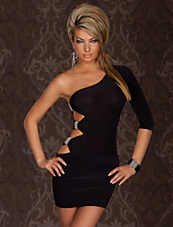 Un hombro vestido cabe Negro Corto Querido ropa de mujer