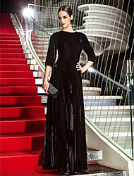 Formal Evening/Military Ball Dress - Black Plus Sizes A-line Jewel Floor-length Velvet