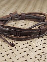 multicamadas trançado pulseira de couro ajustável de unisex das mulheres