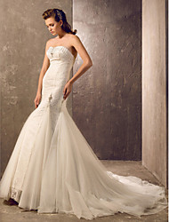 Trumpet / Mermaid Plus Sizes Wedding Dress - Classic & Timeless / Elegant & Luxurious Court Train Sweetheart Lace / Tulle with
