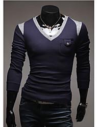 v persönlichen V-Ausschnitt Spleißen Farbe Schlankheitsstrickwaren (Marineblau)