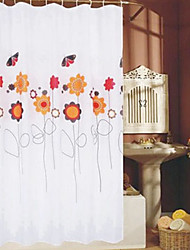 "Shower Curtain Flower & Butterfly Print Thick Fabric Water-resistant W71"" x L71"""