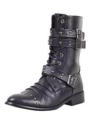 Men's Flat Heel Comfort Knee-High Motorcycle Boots With Zipper