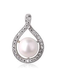 Rhodium plaqué argent 925 sterling de femmes ronde Seashell Pearl (Pas de chaîne)