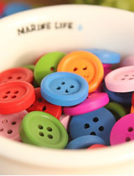Wedding Décor Solid Color Wooden Button - Set of 50 (Random Color)
