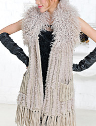 Fur Vest With Beautiful Sleeveless Shawl Collar Rabbit Fur Party/Casual Vest(More Colors)