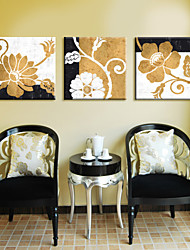 Stretched Canvas Print Art Botanical Flower on Wall Set of 3