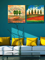 Stretched Canvas Print Art Landscape Stand in Field Set of 2