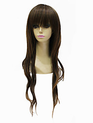 Capless Synthetic Long Chestnut Brown Wavy Hair Wig For Black Women Hairstyle Wig
