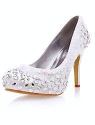 Satin Women's Wedding Stiletto Heel Pumps Heels Shoes With Lace/Rhinestone