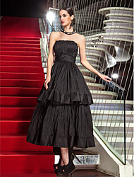 A-Line Strapless Tea Length Taffeta Formal Evening Military Ball Dress with Draping by TS Couture®