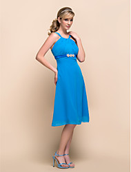 A-line Straps Knee-length Chiffon Bridesmaid Dress 929965