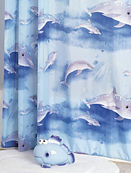 "Shower Curtain Modern Style Dolphin Print W71"" x L78"""
