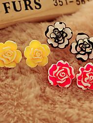 Dm Multi-layer petal flowers rose earrings(Screen Color)