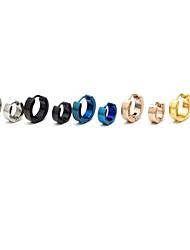 Moda (forma redonda) Multicolor Titanio Stud Pendientes de acero (Plata, Negro, Azul, Oro, Rose) (1 PC)