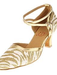 Women's Pretty Sparkling Glitter Upper Zebra Stripe Arch Strap Chuncky Heel Dance Sandals