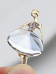 Das Kayshine Mulheres Branco Gemstone enchido diamante Ballet Dancer Liga Broche