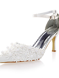 Women's Shoes Satin Spring / Summer / Fall Heels Wedding Spool Heel Imitation Pearl Ivory / White
