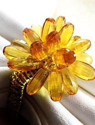 Mult Farben Crystal Floral Serviettenring Set 6, Acryl Durchm 4,5 cm