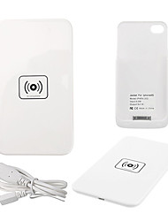 Qi Wireless Charger White Charging Pad with White Receiver for iPhone 4S