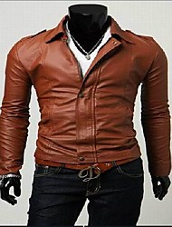 Men's Long Sleeve Casual Jacket,Faux Leather Solid Black / Brown