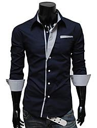 de v rayas personales de manga larga para adelgazar la camisa (azul marino)