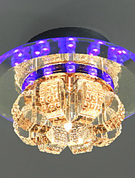 led crystal flush mount, 1 light, modern electroplated
