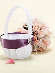 Flower Basket In White Satin With Purple Ribbon Sash