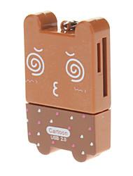 Card Reader 2.0 Memória 4-em-um bonito dos desenhos animados USB (Chocolate)