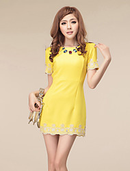 Women's Lace Hem OL Emboridery Simplicity Dress