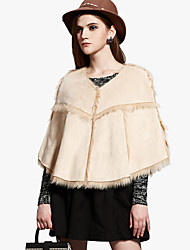 Collarless Faux Fur Party/Casual Hood