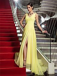 Tubinho Decote V Cauda Escova Georgette Baile de Fim de Ano Evento Formal Baile Militar Vestido com Cruzado Fenda Frontal de TS Couture®