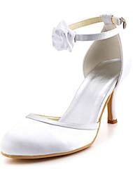 zapatos de las mujeres del dedo del pie redondo bombas de tacón de aguja de satén con hebilla de zapatos más colores disponibles