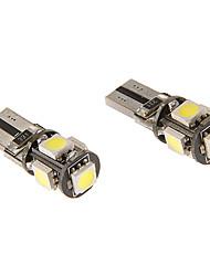 T10 3W 5x5060SMD 230LM 5500-6500K fraîche Ampoule LED lumière blanche pour la voiture (12V)