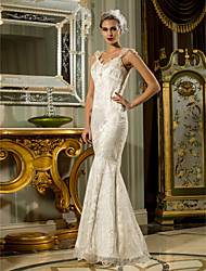 Mermaid / Trumpet Queen Anne Floor Length Lace Stretch Satin Wedding Dress with Beading by LAN TING BRIDE®